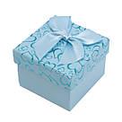 Коробочка под кольцо и серьги Сердечки с бантом голубая 5*5*3,5 см, фото 4