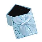 Коробочка под кольцо и серьги Сердечки с бантом голубая 5*5*3,5 см, фото 5