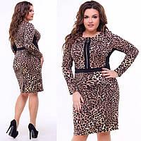 46d71cb620f1 Платье женское стильное с леопардовым принтом размер батал 50-56 купить  оптом со склада 7км