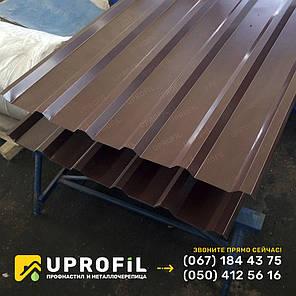 Профнастил для кровли ПК-35 коричневый, купить профнастил на крышу Н-35 RAL 8017 0.40 мм., фото 2