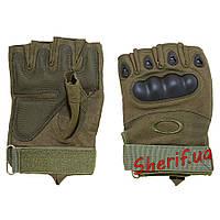 Перчатки тактические короткопалые с защитой костяшек Oakley (олива)