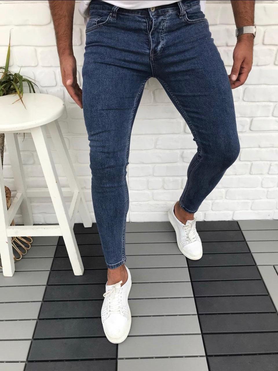 😝 Джинсы - Синие мужские джинсы В6454