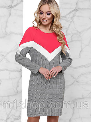 Женское комбинированное платье в клетку (Тараjd), фото 2