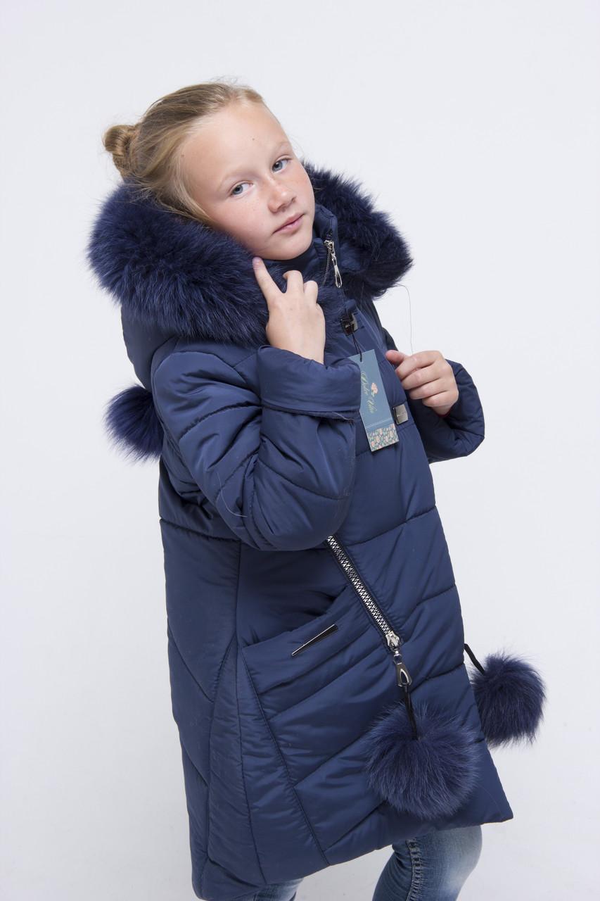 Зимняя куртка парка для девочки   от производителя 32-42 синий