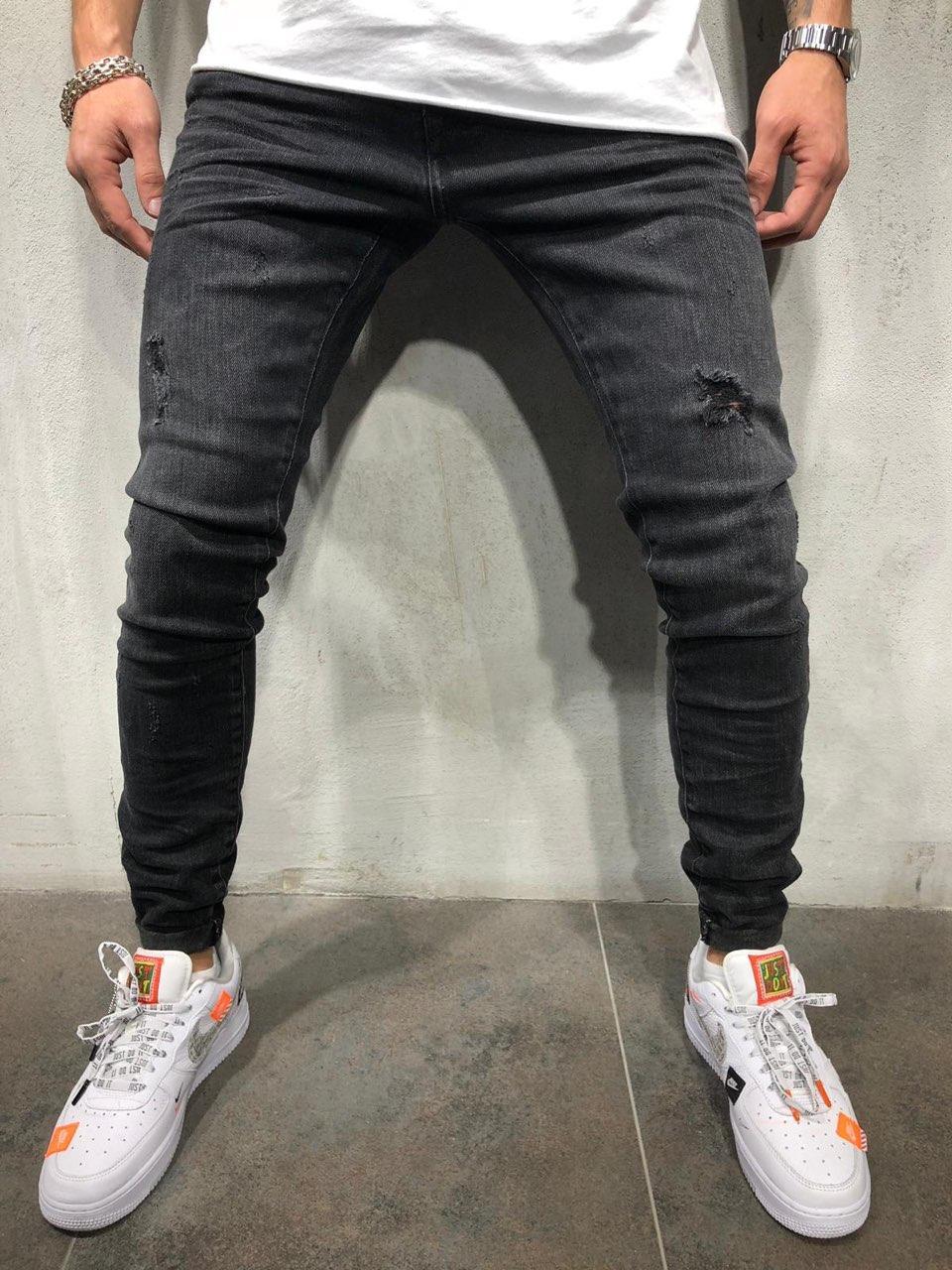😝 Джинси - Сірі чоловічі джинси В3284
