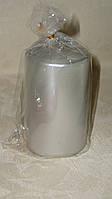 Свеча столбик 10 см серебряная металлик