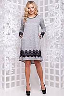 Красивое ангоровое платье трапеция с люрексом с кружевом 42-50 размера серое a53273c96e736