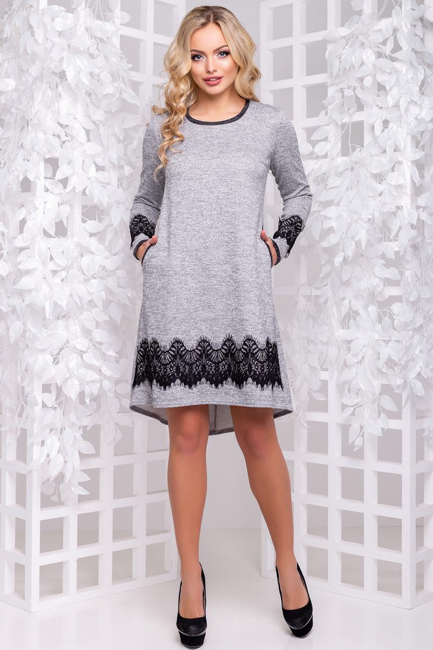 2af02903715 Красивое ангоровое платье трапеция с люрексом с кружевом 42-50 размера серое