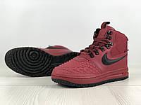 Кроссовки мужские в стиле Nike Lunar Force 1 Duckboot код товара 4S-1166. Бордовые