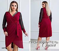 Платье 53/5 с имитацией на запах R-21579 бордовый