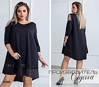 Платье 0135 украшено вставками из пайеток R-21585 черный