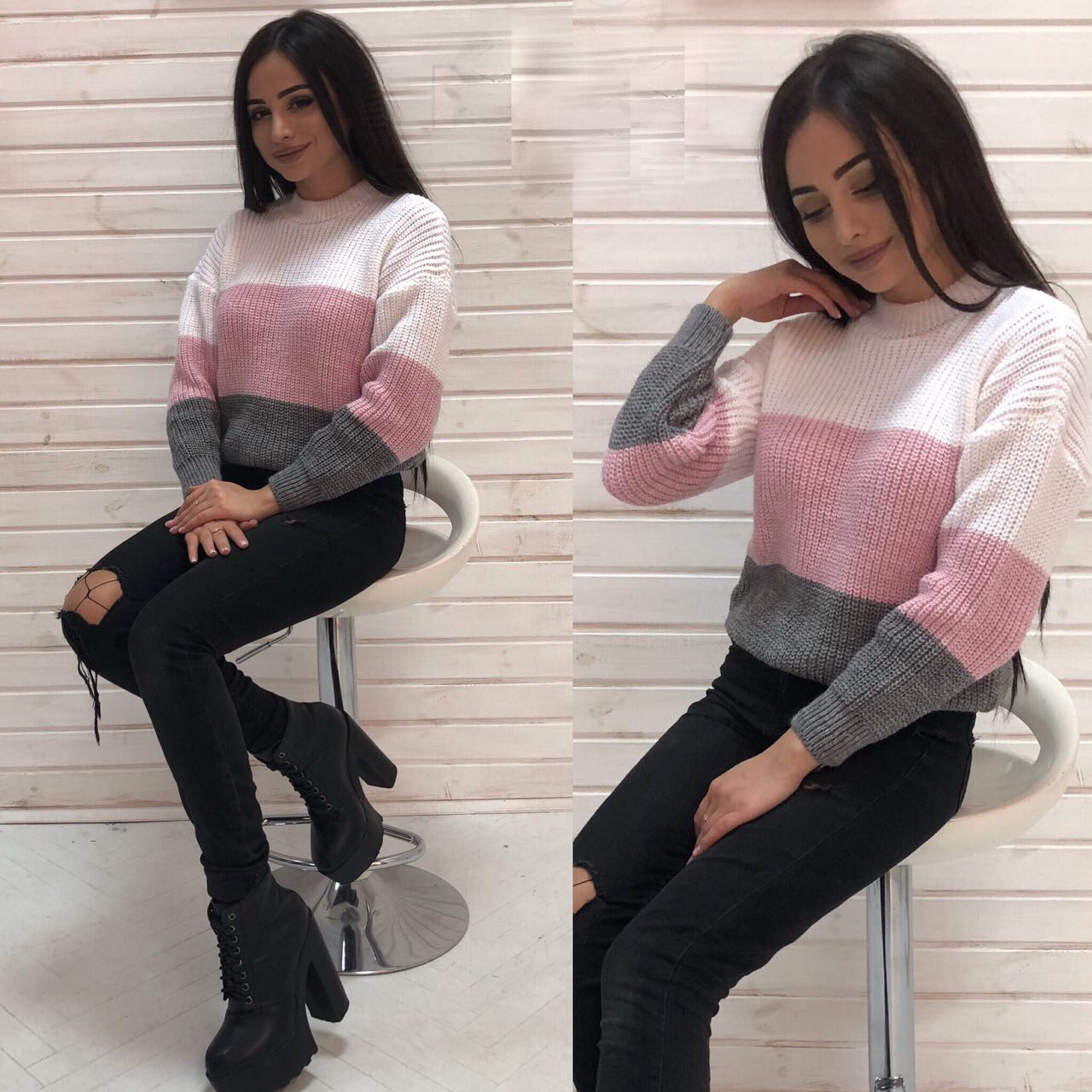 Вязанный свитер Радуга