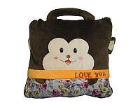 Плед, подушка для детей 3 в 1 (подушка трансформер) - коричневая обезьяна