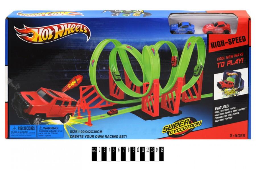 Гоночный трек Hot Wheel Супер Циклотрон HW219 с петлями, хот вилс, 2 металлические машинки