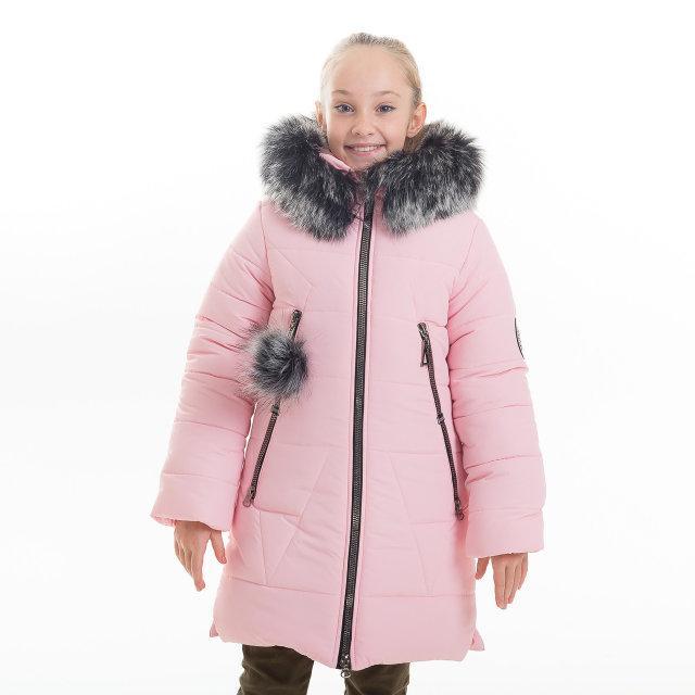 """Зимнее пальто для девочки """"Лисан"""" (розовый) + шарф в подарок!"""