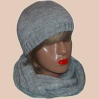 Женская вязаная шапка со стразами и шарф-снуд