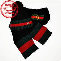 Мужской комплект набор вязаная шапка с бубоном и шарф Gucci черныйкрасивый модный шерст зима Гуччи реплика