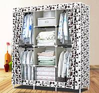 Портативный мобильный шкаф из ткани для одежды Storage Wardrobe YQF130-14 - Белый (пятнистый)