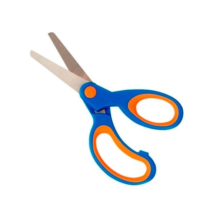 Ножницы детские Herlitz 13см прорезиненные ручки голубые  (10801710B)