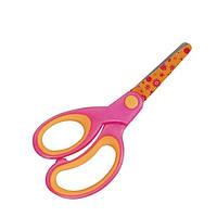 Ножницы детские Herlitz 13см прорезиненные ручки ДЛЯ ЛЕВШИ розовые  (10897163P)