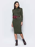 a8c1fc7a7cc Зеленое меланжевое теплое платье-миди с длинным рукавом р.44