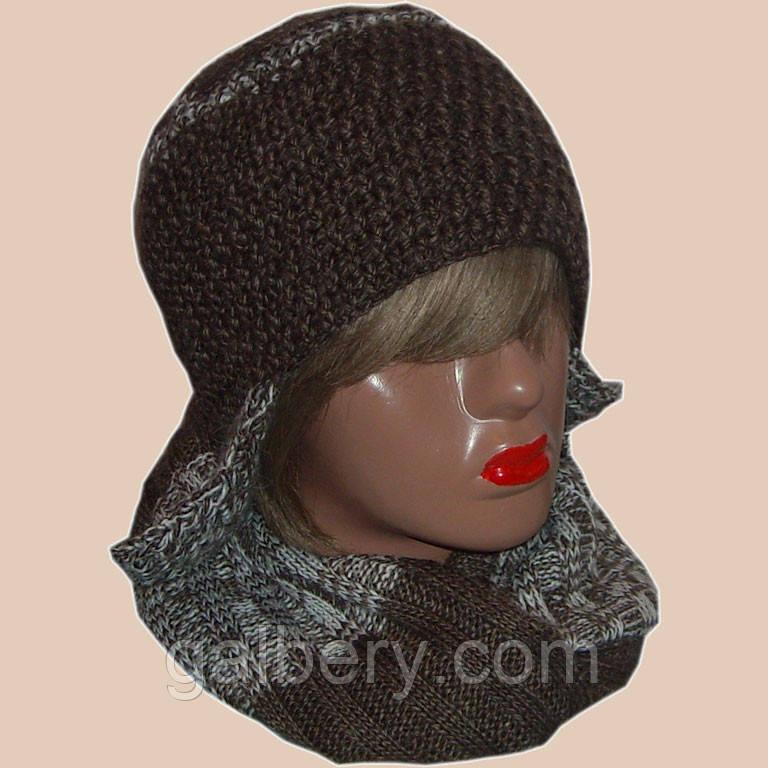 Женская вязаная шапка - ушанка коричневого цвета и шарф - снуд