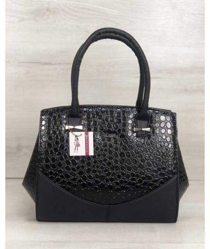 b37b44530576 Каркасная женская сумка WeLassie Виржини черного цвета со вставками черный  лаковый крокодил