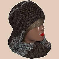 Женская вязаная шапка - ушанка коричневого цвета и шарф-снуд