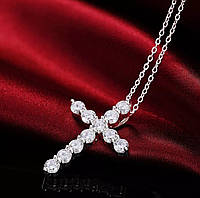 Подвеска женская крест со стразами «Cross» нежный и женственный (серебристый), фото 1