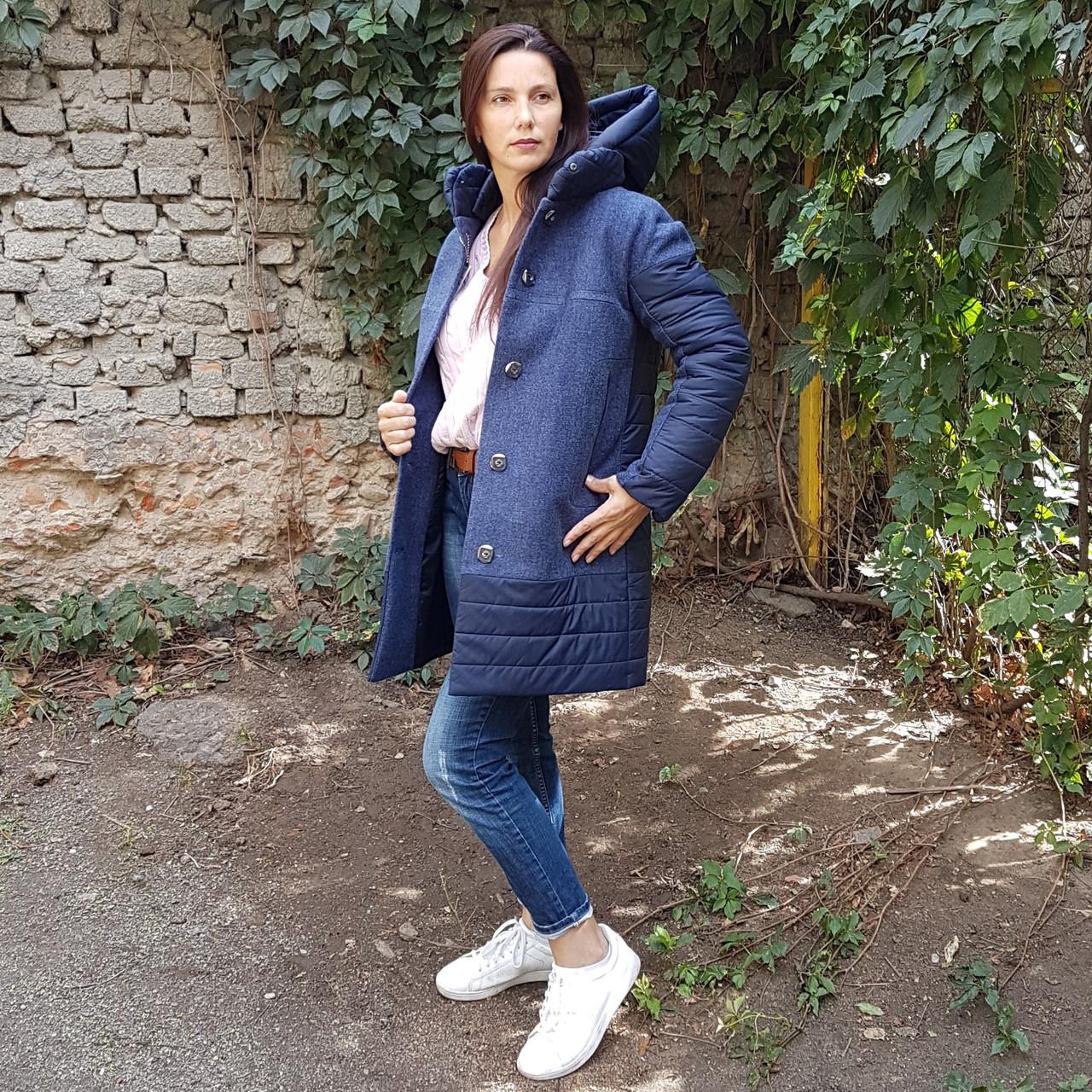 Зимнее женское пальто комбинированное Шерсть и плащевка.