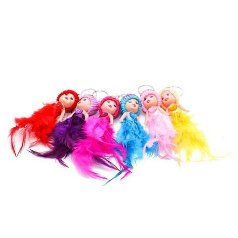 Аксессуар для сумки 1259-5 (600шт) пупс7-4-3см, брелок14см,юбка-перья,микс цв,упаковка 12шт в кульке