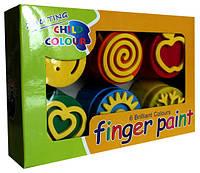 Краски пальчиковые, 6 цв., со штампами, 180мл, FP-6
