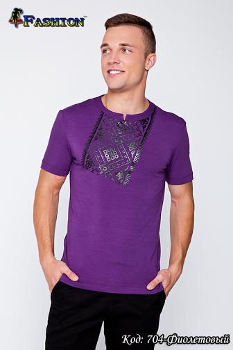 Футболка мужская фиолетовая с вышивкой Ник