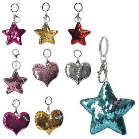 Брелок MK 1747 (192шт) 14см, пайетки, 2вида(звезда, сердце), 8см, 5цветов, упаковка 24шт