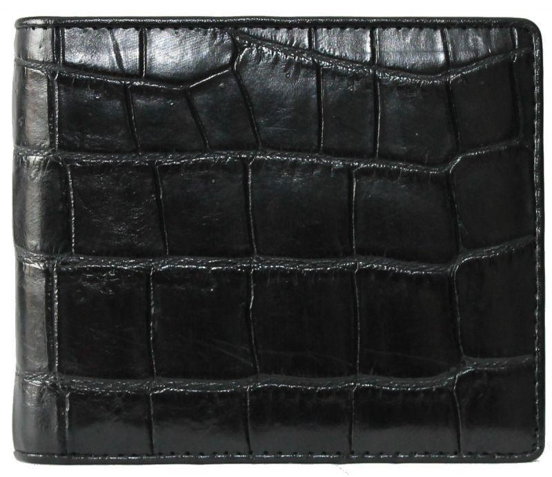Портмоне мужской из кожи Крокодила 11х9,5 см 1006. ALM 03 EX Black