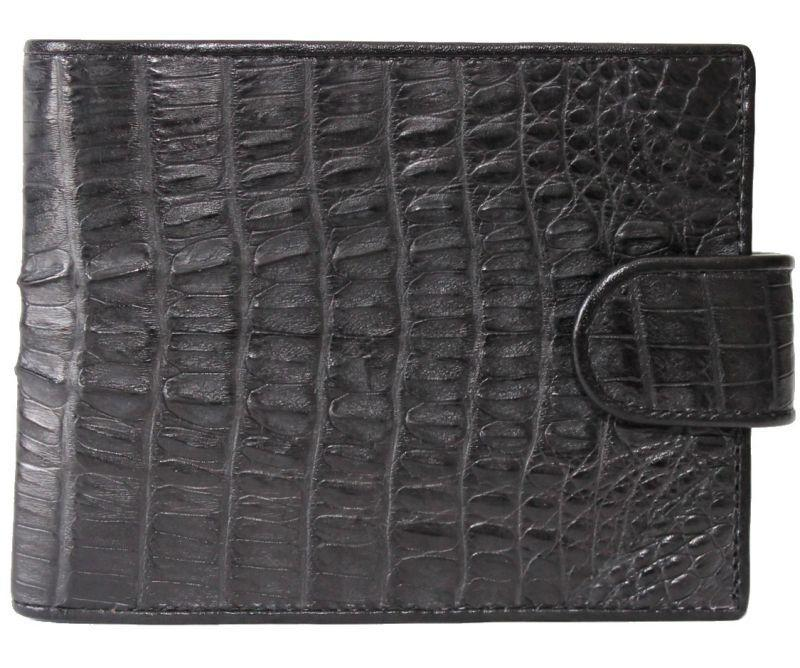 Портмоне мужской из кожи Крокодила 12,5х10 см 1002. ALM 100T Black