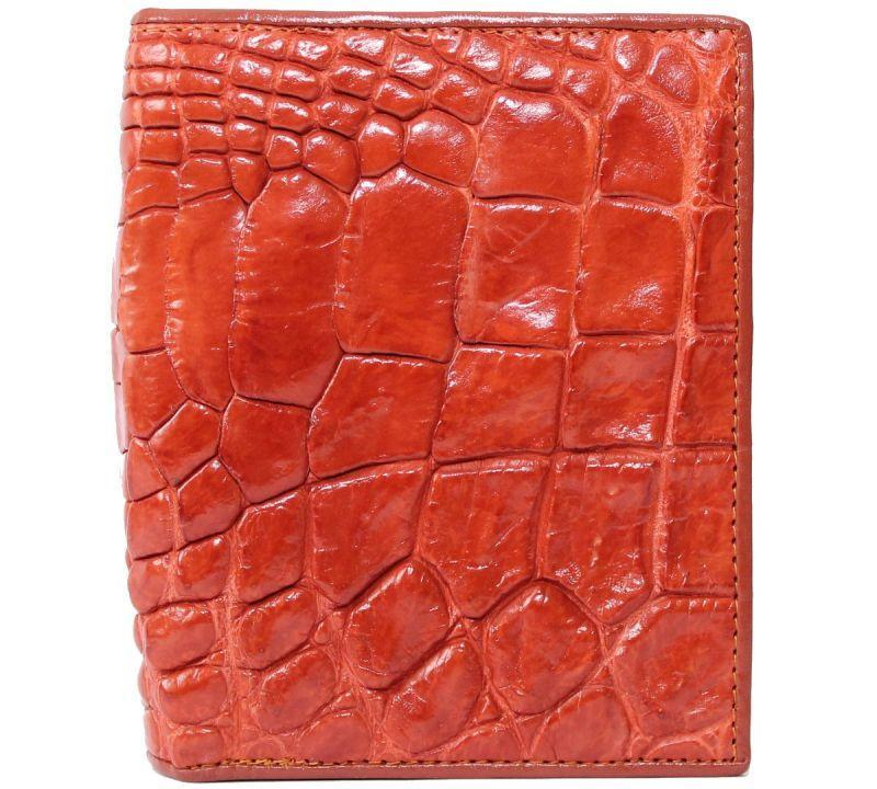 Портмоне мужской из кожи Крокодила 9,5х12,5 см 1003a. ALM 06 B Golden Tan
