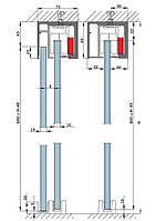 Профиль несущий для раздвижных дверей Dorma Agile-150 c боковыми витражами