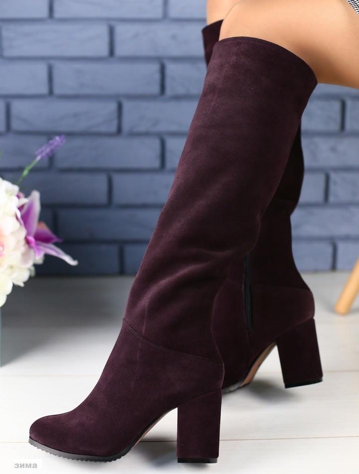 e5f274802f91 Модные высокие женские замшевые сапоги зимние на толстом каблуке сливовый  цвет зима А40HT15-4FI