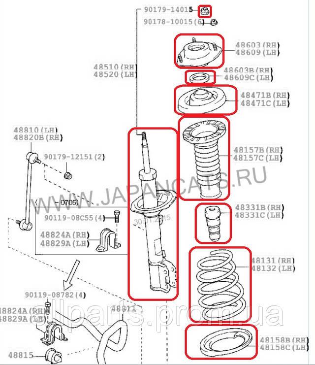 Lexus RX 300/330/350 (03-08) схема замены передней подвески с пневмо на пружины