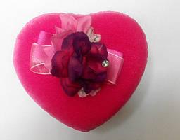 Коробка подарочная сердце ткань розовая