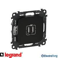 Механизм розетки USB двойной для зарядки антрацитовый Valena ALLURE Legrand