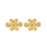 Запонки мистические узлы с кристалами - покрытие золото