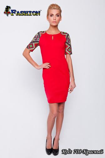 Жіноча червона сукня з вишивкою Весняний настрій, р. L