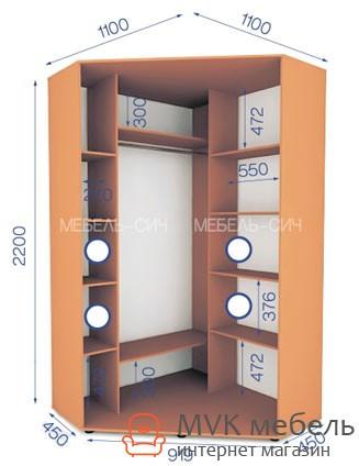 угловой шкаф купе в спальню 0122 1000х1000х2200 цена 5 256 грн
