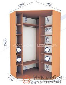 Угловой шкаф-купе в спальню (01/24) 1000х1000х2400