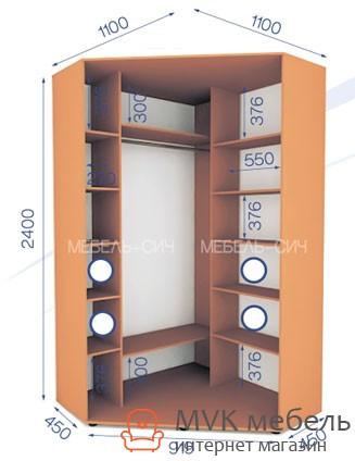 угловой шкаф купе в спальню 0124 1000х1000х2400 цена 5 307 грн