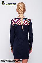 Женское темно-синее платье с вышивкой Модняшка, фото 3