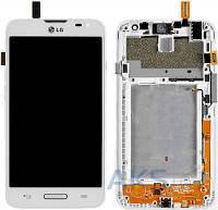 Дисплей (экран) для телефона LG L70 D320, L70 D321, L70 MS323 + Touchscreen with frame Original White