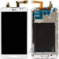 Дисплей (экран) для телефона LG G Pro Lite D680, G Pro Lite D682 + Touchscreen with frame Original White